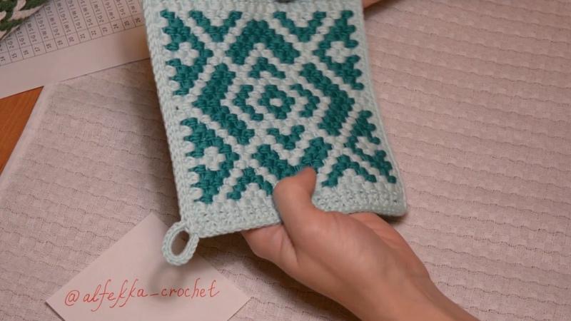Как вязать жаккард крючком в технике Bricks Crochet мастер класс