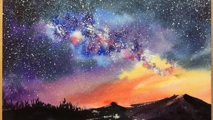 Акварель Звездное небо магия цвета небольшой набросок
