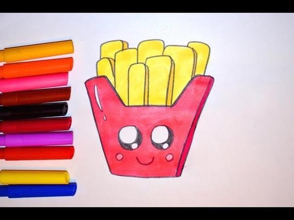Как рисовать милую каваи картошку фри Макдоналдс. How to draw a cute kawaii smiley fries