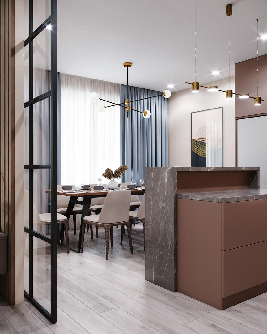 Гостиная и кухня в квартире в г.