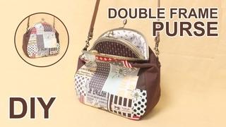 DIY Double clasp frame Purse bag    Metal frame clutch bag - Free patterns #sewingtimes