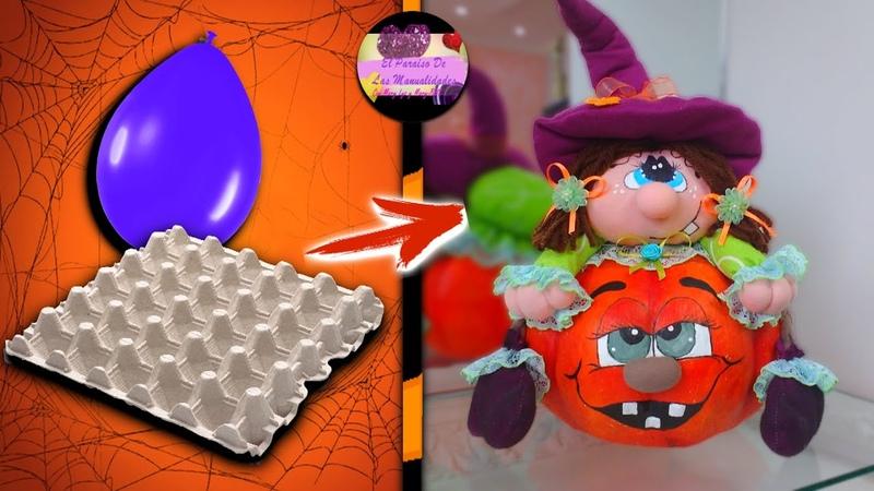 Dulcero de calabaza con material reciclable y brujita de tela fieltro para Halloween Moldes Gratis