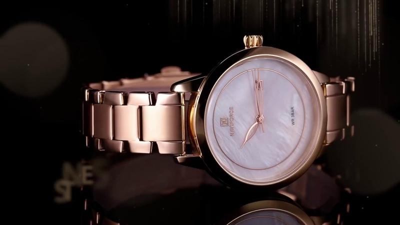 Роскошный бренд NAVIFORCE, часы из розового золота