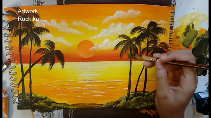 Sunset in the Ocean   Acrylic Painting   Simple Landscape Painting
