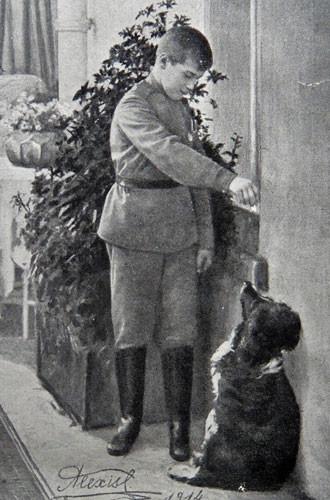 Цесаревич Алексей с своей собакой по кличке Джой
