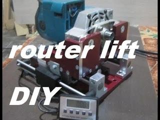 Точный лифт для фрезера с электроприводом.Home-made router lift
