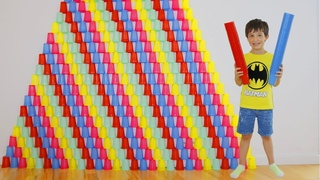 Danila Play with colored cups and Ride on Toy Sportbike! Video for kids