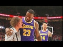 LeBron James Helps Woman Get Up After Knocking Her Over During The Game Lakers vs Trail Blazers