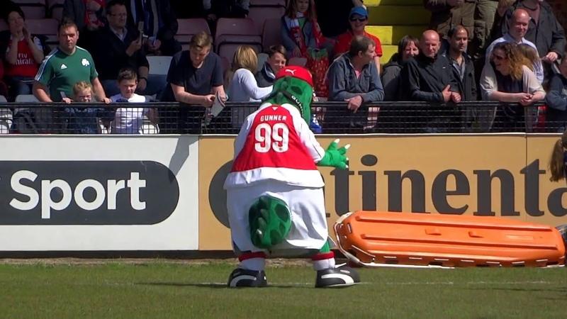 Arsenal Ladies F.C Dancing Mascot : ) Gunnersaurus The Dinosaur