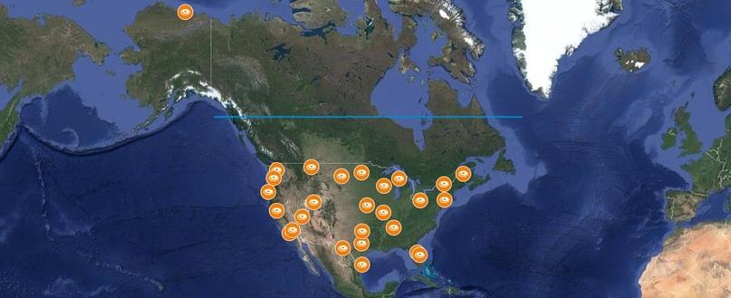 Местоположения для станций шлюза Ka-диапазона, поданных в FCC SpaceX.