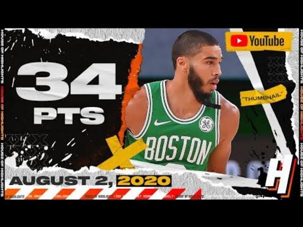 Jayson Tatum 34 Points 8 Ast Full Highlights Celtics vs Trail Blazers August 2 2020