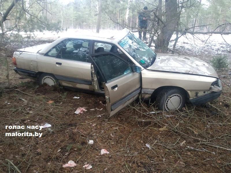 В Малоритском районе автомобиль «Ауди» вылетел в кювет