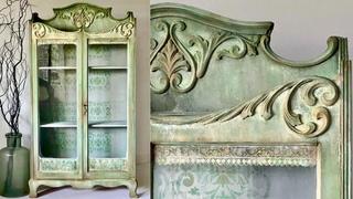 Chalk Painting Furniture a Verdigris Patina Effect using Saltwash and Chalk Paint