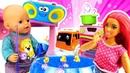 Игры в куклы Барби и дочки матери с пупсом. Как присмотреть за малышом Видео для детей