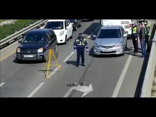Инспектор ДПС остановил поток автомобилей, чтоб утка со своим семейством перешла дорогу