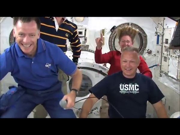 Flat Earth Floating with wires and harnesses on ISS