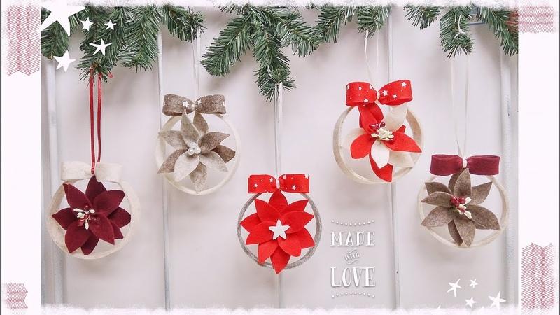 Tondì decorazione natalizia da appendere facile senza cucire