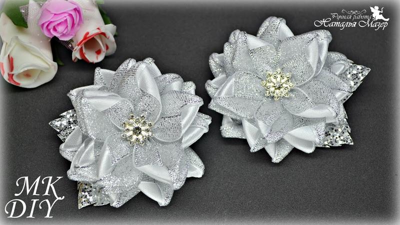 Цветы из узких лент Нарядные заколки для волос МК КАНЗАШИ DIY Ribbon flowers