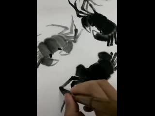 Видео-уроки рисования краба в стиле китайской живописи