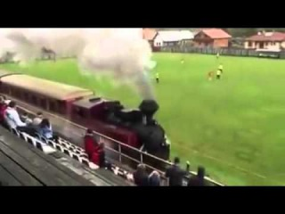 A train provides one of the all time great distractions in the middle of an amateur match