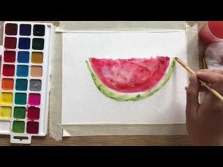 Рисование акварелью «арбуз»/ рисование с нуля/ творчество