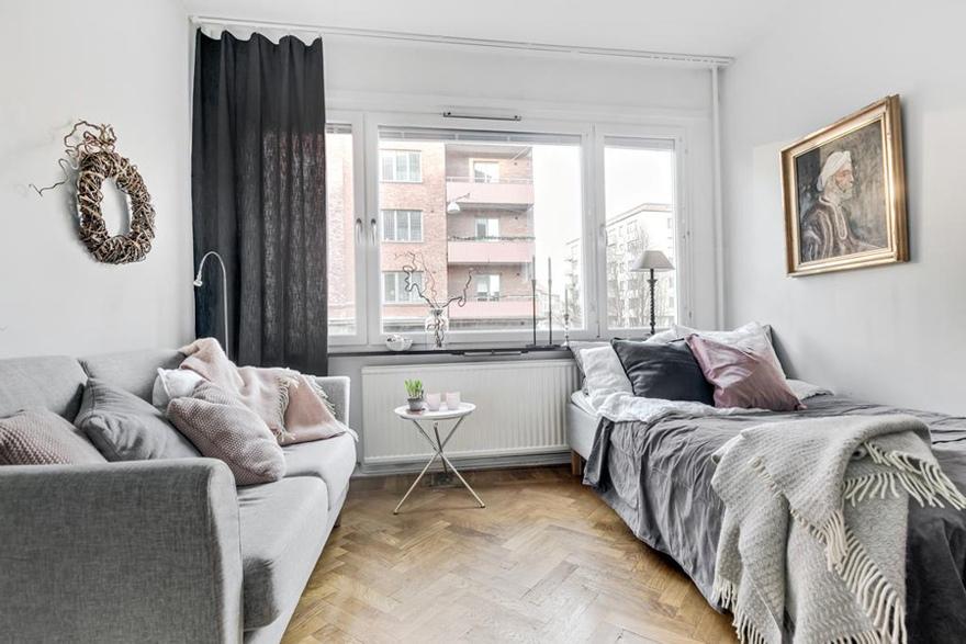 Интерьер скандинавской квартиры-студии 25 м.