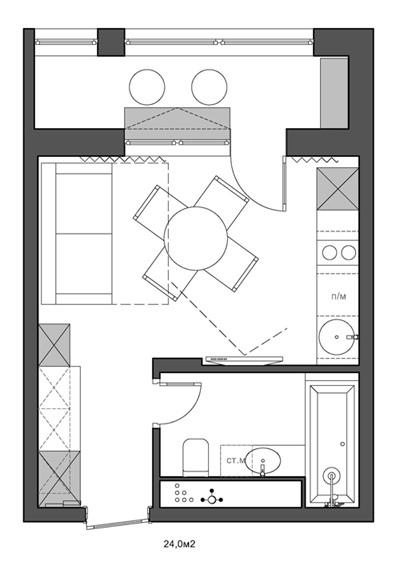 Ремонт квартиры-студии 24 м для сдачи в аренду в Химках (МО).