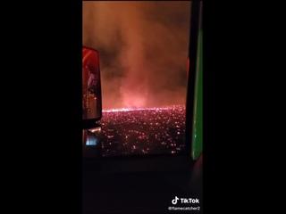 Огненное торнадо на лесных пожарах в Калифорнии :