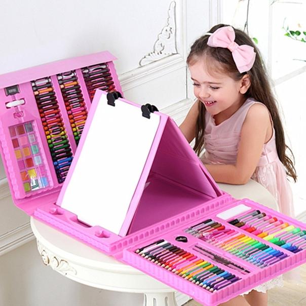 208 шт./компл. набор инструментов для рисования, синий цвет, акварельная ручка, детские подарки, игрушки на Новый Год, день рождения