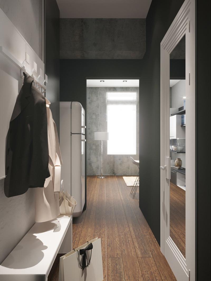 Проект маленькой студии 16 м от московской строительной компании Алтай.