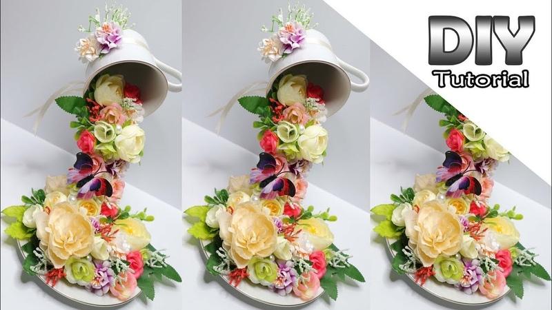 DIY - How to make Floating Tea Cup | Cara Membuat cangkir tumpah | Shabby chic interior handmade
