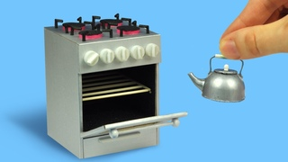 Mini kitchen stove for dolls and dollhouse (with measurements)