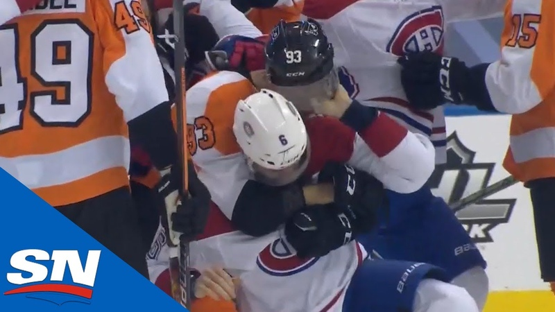 Line Brawl Ensues After Sean Couturier Blindsides Lehkonen After Canadiens Score Empty Net Goal