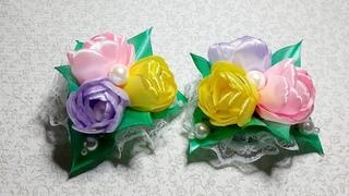 Так не хочется отпускать лето! Букет цветов из лент на резинке. Канзаши. Kanzashi