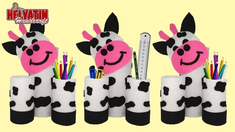 Kreasi botol bekas - Mengolah limbah menjadi tempat pensil model sapi || Bottle craft ideas